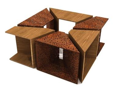 Griglia per alberi / seduta da esterni in acciaio e legno ALCORQUE RECTANGULAR