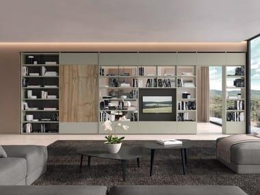 Libreria divisoria in legno e vetro con porta tv TRENTA 07