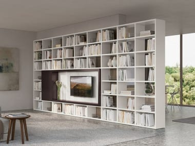 Open melamine-faced chipboard bookcase with TV stand TRENTA 09
