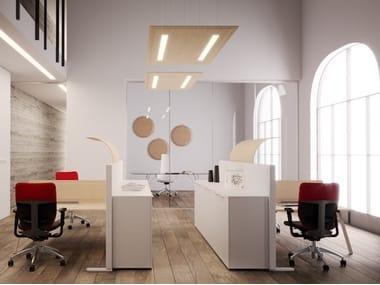 Pannello acustico a sospensione in melamina con illuminazione integrata SOUND | Pannello acustico a sospensione con illuminazione integrata