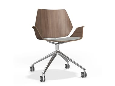 Swivel trestle-based chair with armrests CENTURO VI | Trestle-based chair