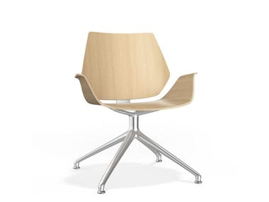 Swivel trestle-based wooden chair with armrests CENTURO IV LOUNGE | Trestle-based chair