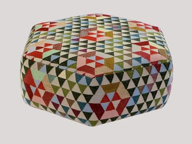 Upholstered wool pouf TRIANGLEHEX SWEET GREEN | Pouf