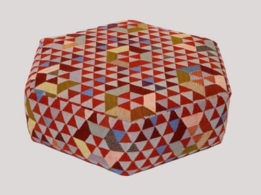 Upholstered wool pouf TRIANGLEHEX SWEET PINK | Pouf