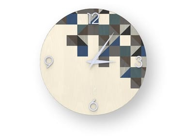 Wall clock made of inlayed wood TRIANGLES COLD | Clock