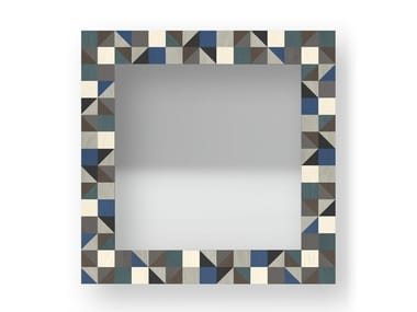 Square wall-mounted framed mirror TRIANGLES COLD | Mirror