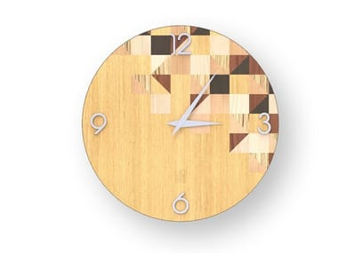 Wall clock made of inlayed wood TRIANGLES WARM | Clock
