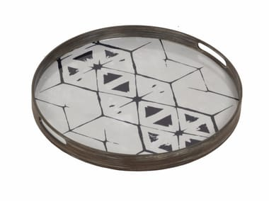Round wood and glass tray TRIBAL HEX
