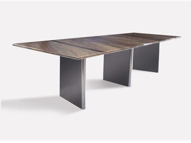 Rectangular marble and metal dining table TRILOGY