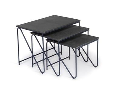 Tavolino basso rettangolare in pietra lavica TRIPTYCH | Tavolino in pietra lavica
