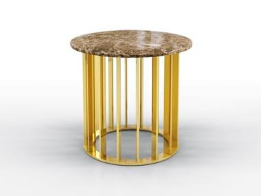 Round metal coffee table and Dark Emperador top TRITON | Marble coffee table