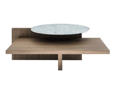 Low table in wood and marble TRON