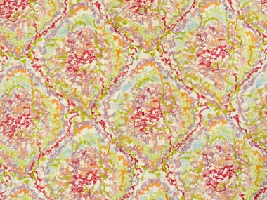 Embroidered printed cotton fabric TROPICAL REEF
