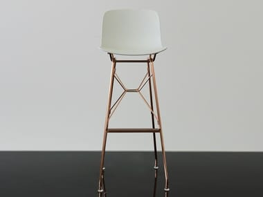 High polypropylene stool with back TROY | High stool