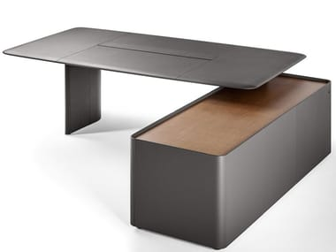 Rectangular tanned leather executive desk with shelves TRUST 5644711 | Office desk with shelves
