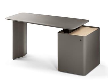 Scrivania direzionale rettangolare in cuoio con scaffale integrato TRUST 5644710 | Scrivania con scaffale integrato