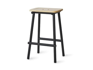 Steel and wood stool TUBBY TUBE | Stool