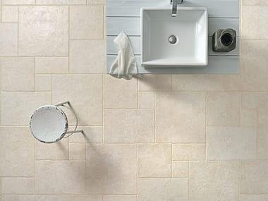 Pavimento/rivestimento in gres porcellanato effetto pietra TUFO AVORIO