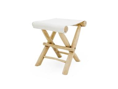Low folding teak stool with footrest TULUM | Folding stool