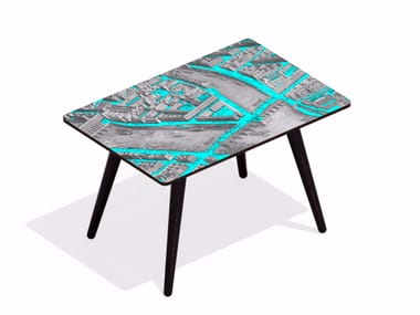 Rectangular beech wood and HPL coffee table TURGOT PONT NEUF L CYAN | Rectangular coffee table