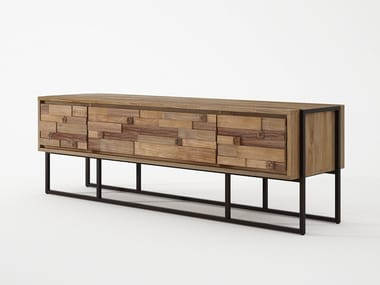 Teak TV cabinet with drawers CARV'N   TV cabinet