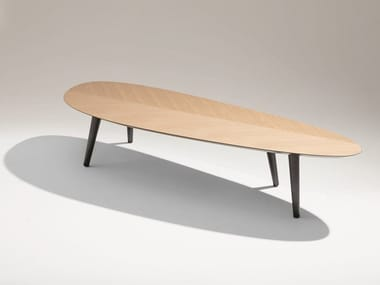 Oval wooden coffee table TWEED MINI LARGE