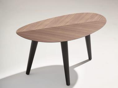 Oval wooden coffee table TWEED MINI SMALL