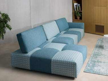 Modular fabric sofa with removable cover with chaise longue TWEET | Sofa with chaise longue