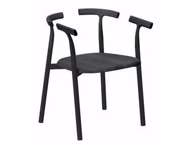 Sedia in alluminio e legno con braccioli TWIG 4 - 10C