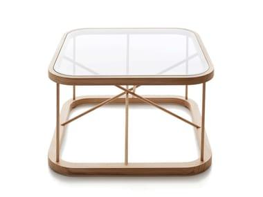 Tavolino da caffè quadrato in legno e vetro TWIGGY | Tavolino quadrato