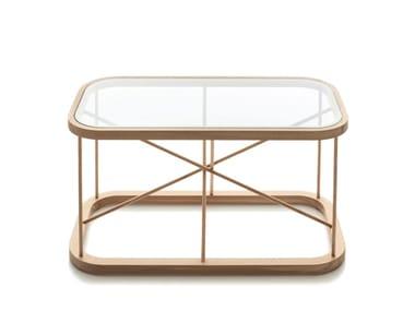 Tavolino da caffè rettangolare in legno e vetro TWIGGY | Tavolino rettangolare