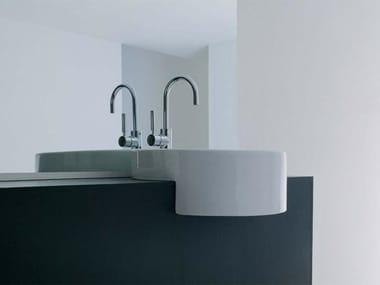 Semi-inset ceramic washbasin TWIN SET 52 | Semi-inset washbasin