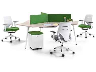 Multiple workstation desk with electrical outlets TWIST   Sectional office desk