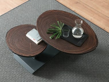 Low swivel wooden coffee table TWIST TRONCO