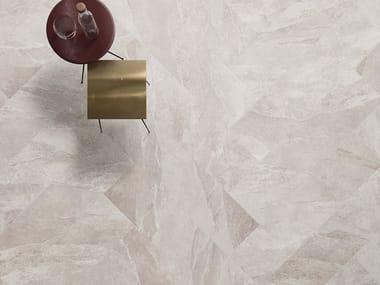 Indoor/outdoor porcelain stoneware flooring with stone effect UBIK GREIGE