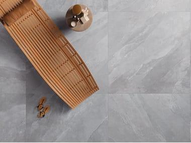 Indoor/outdoor porcelain stoneware flooring with stone effect UBIK GREY
