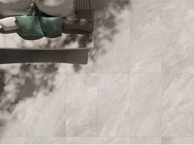 Indoor/outdoor porcelain stoneware flooring with stone effect UBIK IVORY