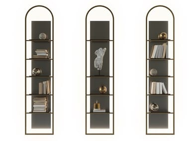 Bookcase with glass and metal lighting UFFIZIO