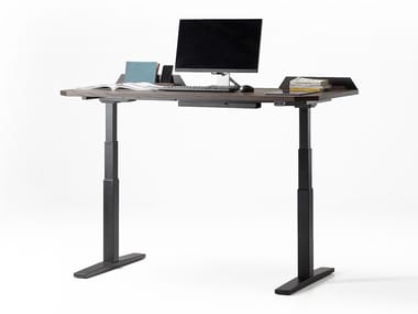 Height-adjustable steel and wood writing desk UFO ELECTRIC | Writing desk