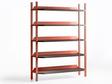 Open freestanding steel and wood bookcase UFO | Bookcase