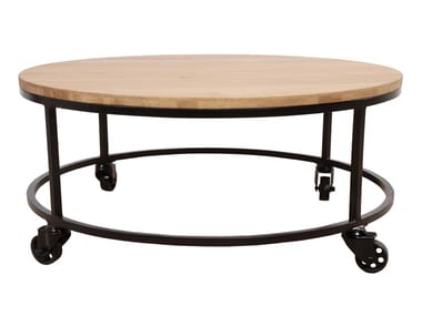 Oval English oak and metal coffee table with casters UILI | Oval coffee table