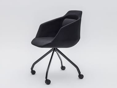 Swivel trestle-based fabric chair with armrests ULTRA P7KM, P7KT