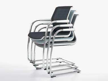 Cadeira de conferência empilhável com braços UNIX CHAIR | Cadeira trenó