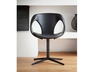 Leather chair with 4-spoke base UP CHAIR   Chair with integrated cushion