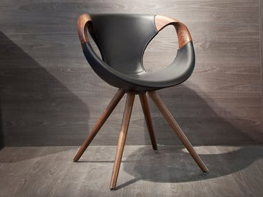 Trestle-based leather chair UP WOOD   Leather chair