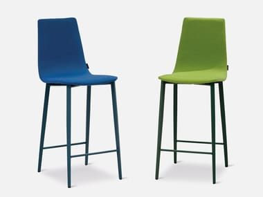 High upholstered fabric stool with footrest SALT | Upholstered stool