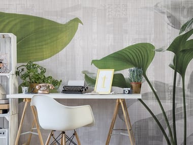 Washable panoramic glass-fibre wallpaper URBAN LEAVES