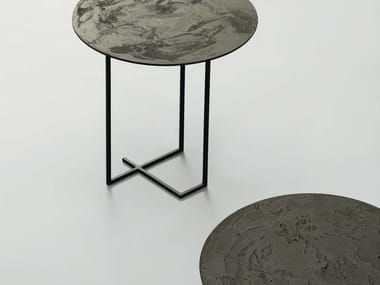round metal side table urushi side table