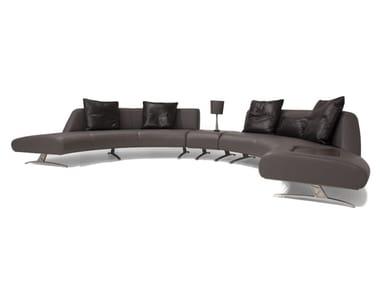Sofá composable tapizado de cuero de esquina V114 COMPOSITION 2 | Sofá composable