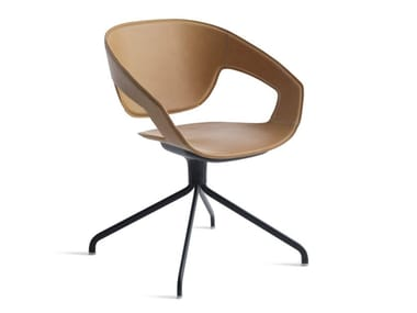 Swivel trestle-based tanned leather chair VAD GIREVOLE CUOIETTO